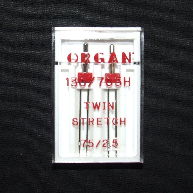 Zwillings-Nähmaschinennadeln Abstand 2,5 mm Nr.75 Stretch Flachkolben, 130/705H, 2 Stk. Organ