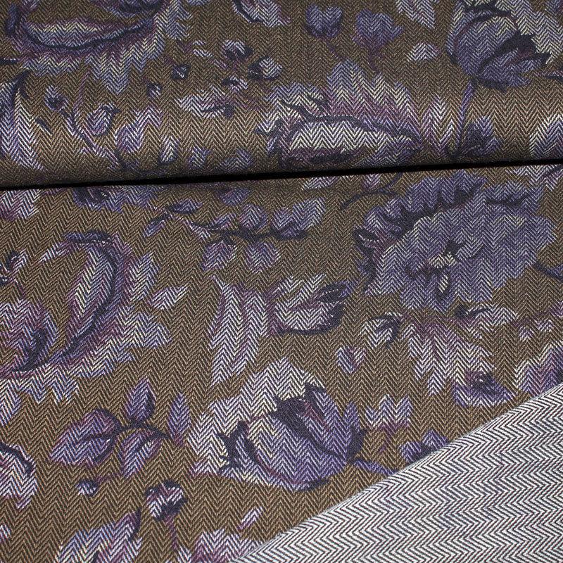 Fischgrat Reaktivdruck Gobeline lila Muster ca. 2 -15 cm
