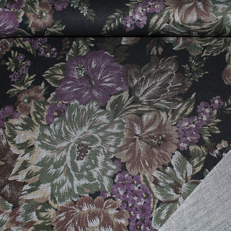 Fischgrat Reaktivdruck Blume braun Muster ca. 29-30 cm