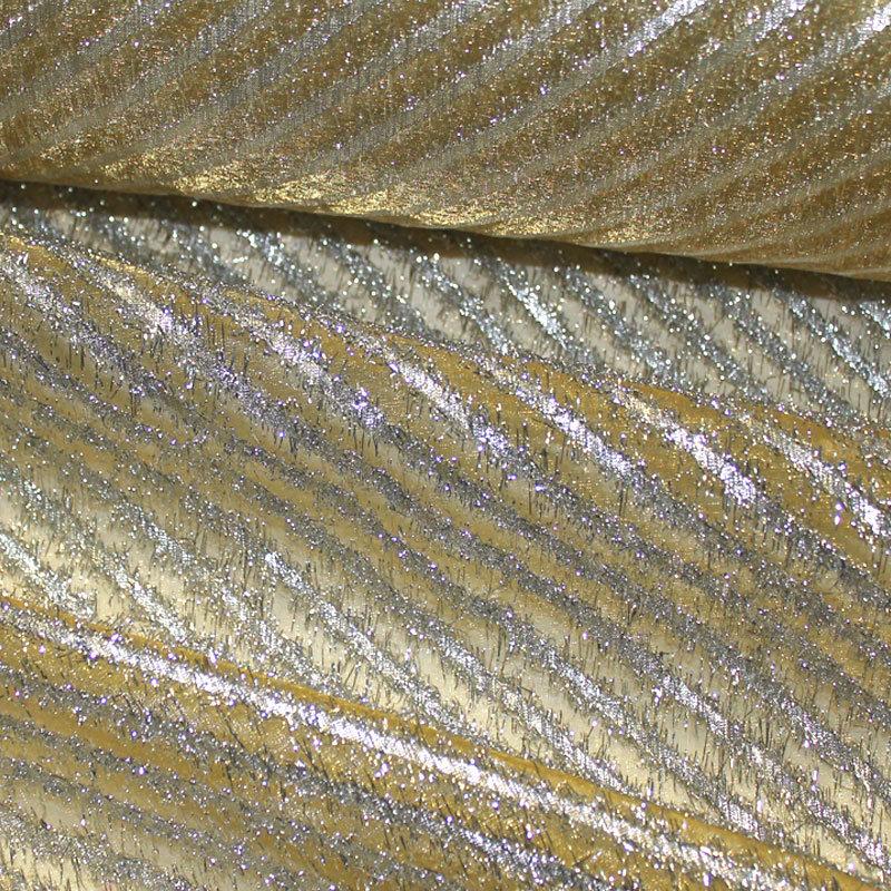 Organza Lurexstreifen diagonal silber