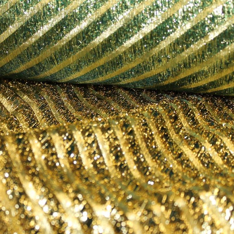 Organza Lurexstreifen diagonal grün-gold