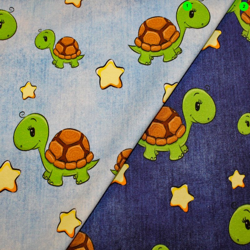 Baumwolljersey Jeansoptik / Schildkröte Ökotex