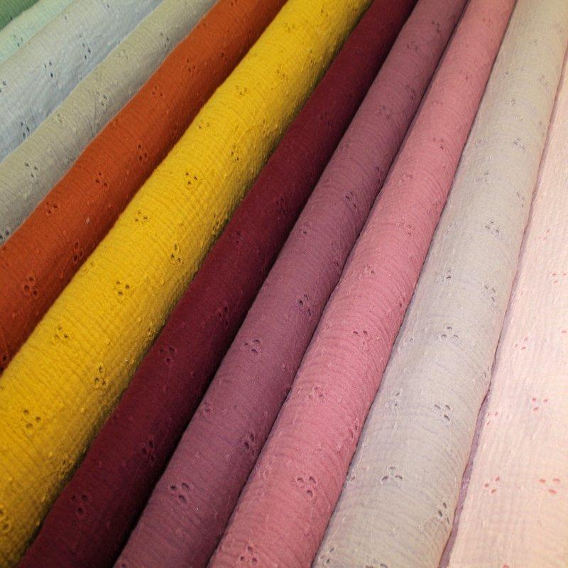 Doppelkrepp Lochstickerei ÖkoTex  in 18 Farben
