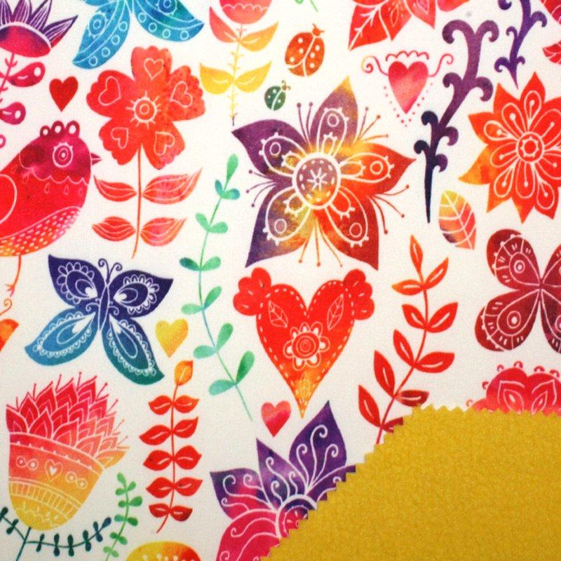 Softshell bedruckt Vogel, Blumen