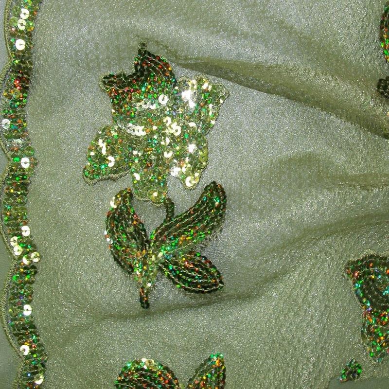 Pailletten 5 mm oliv Stickerei Blume