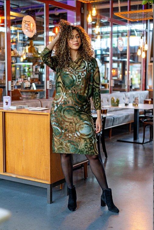 Modestoffe Jersey Ausbrenner Kreise olivgrün (Kleid)