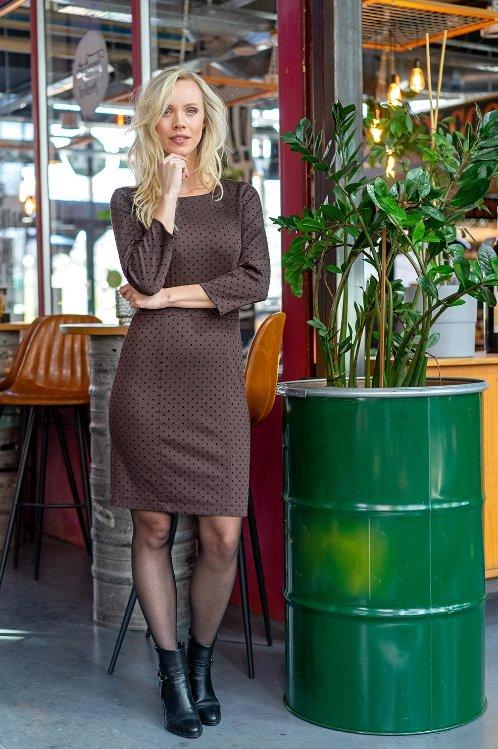 Modestoffe Romanit Jersey beflockt dunkelbraun Punkte  (Kleid)
