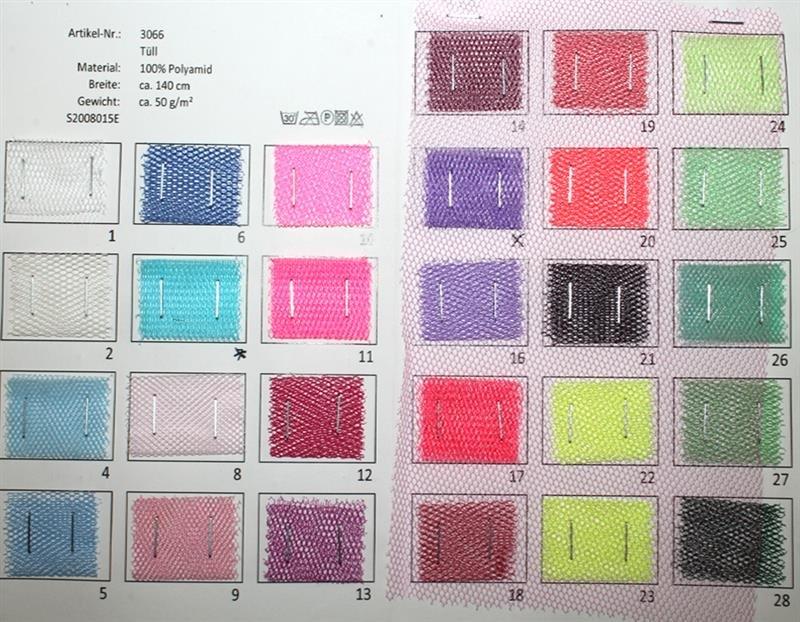 Farbkarte Tüll in 51 Farben