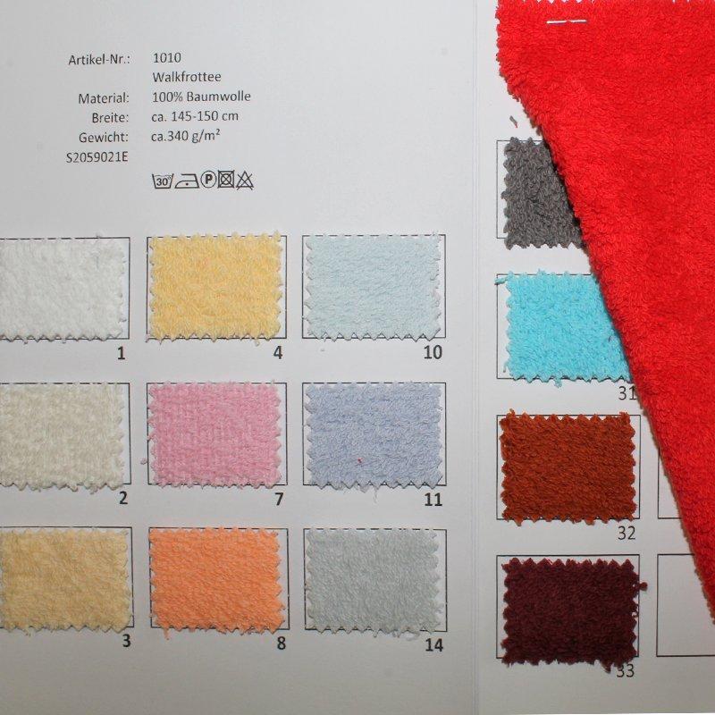Farbkarte Walkfrottee in 25 Farben