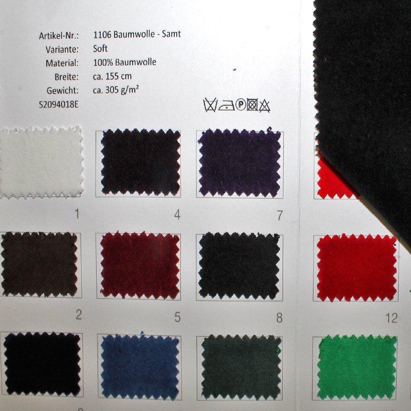Farbkarte BW-Samt in 16 Farben