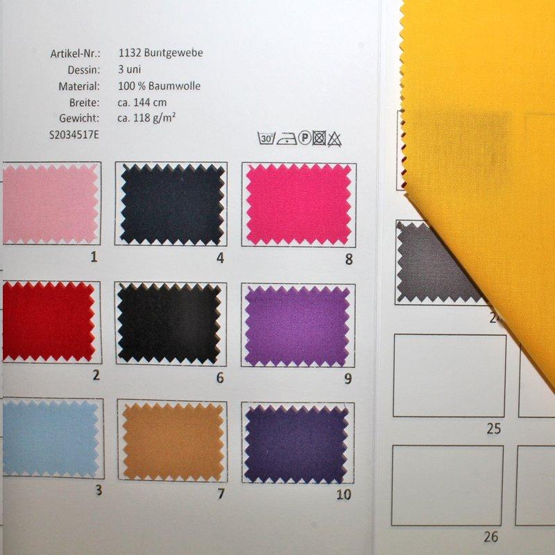 Farbkarte Buntgewebe Uni in 24 Farben