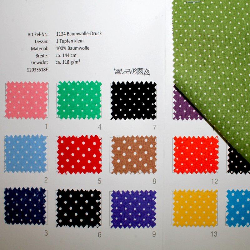 Farbkarte BW Buntgewebe Tupfen klein in 17 Farben