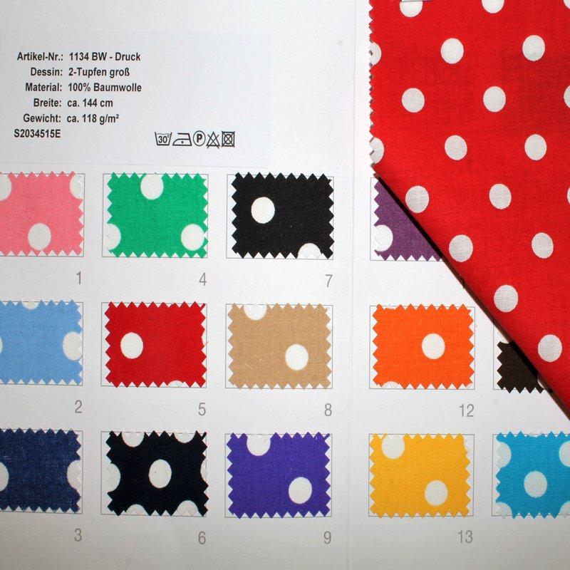 Farbkarte BW Buntgewebe Tupfen groß in 16 Farben