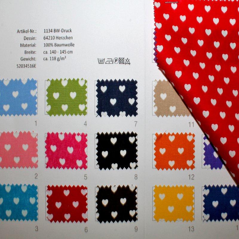 Farbkarte BW Buntgewebe Herzchen in 19 Farben