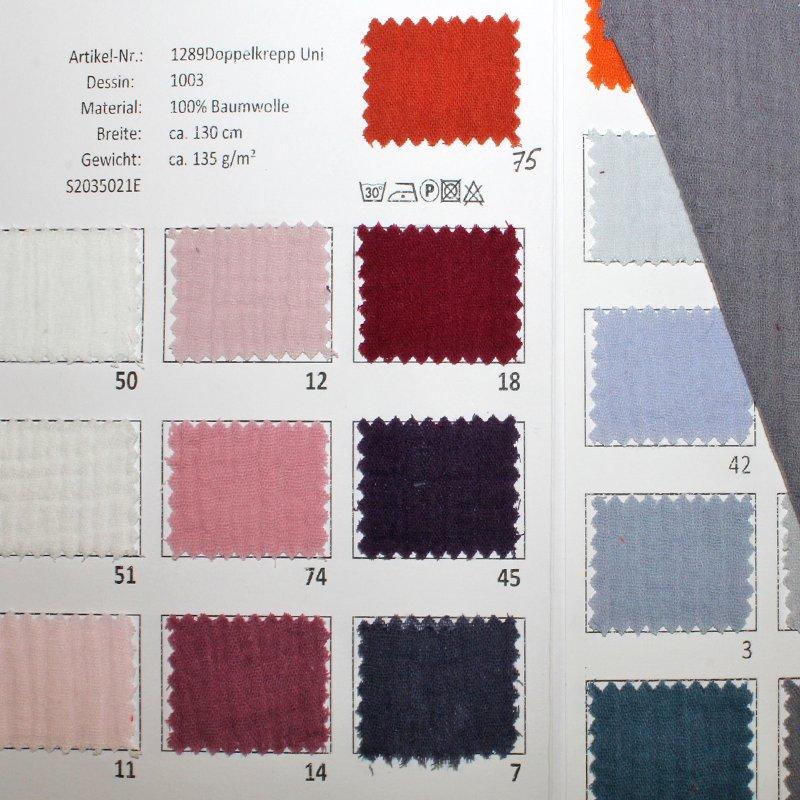 Farbkarte Doppelkrepp Uni in 40 Farben