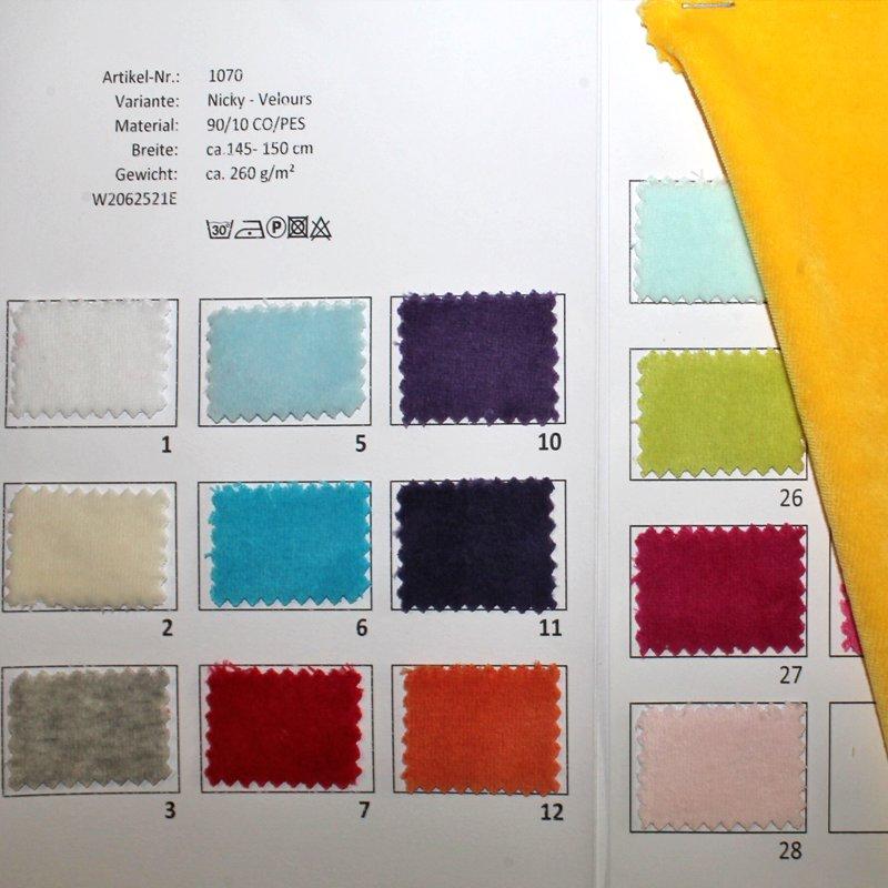 Farbkarte Nyki-Veloursin in 31 Farben