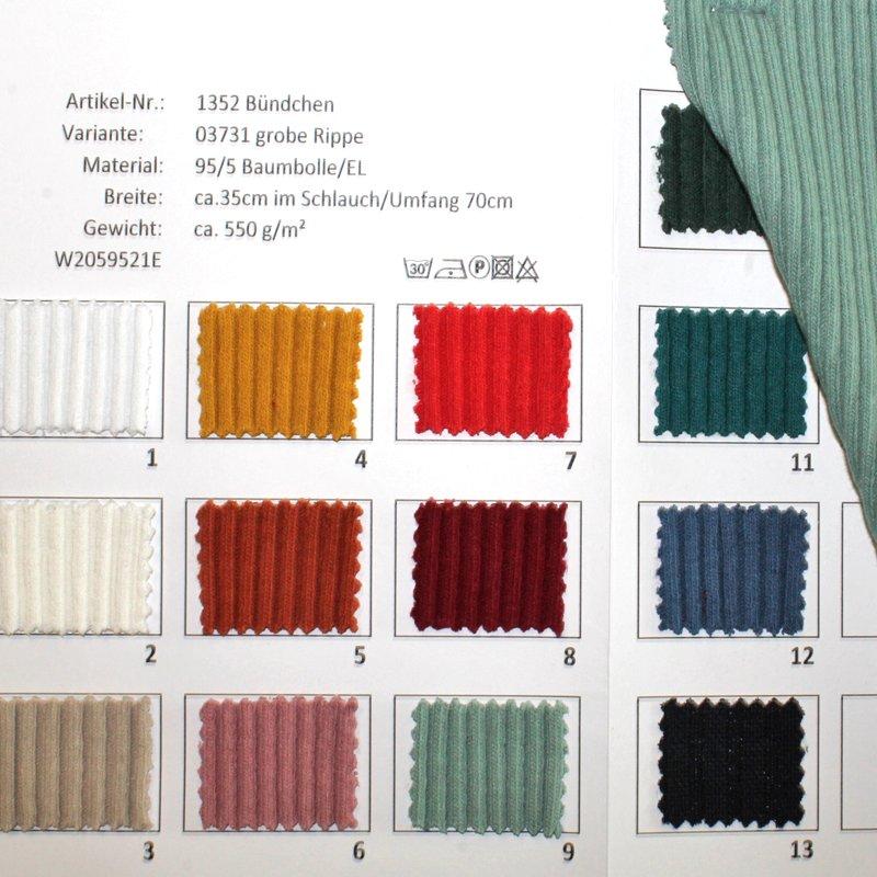 Farbkarte Bündchen Schlauchware grobe Rippe in 15 Farben