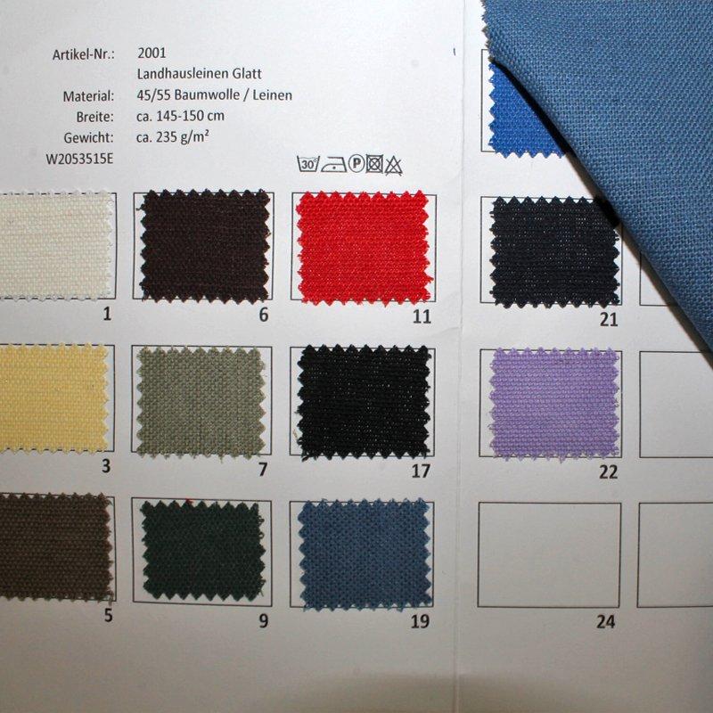 Farbkarte Landhausleinen Glatt in 14 Farben