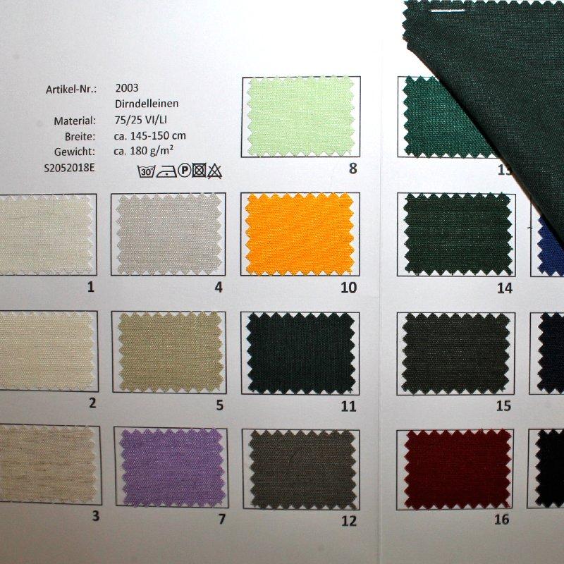 Farbkarte Dirndlleinen in 21 Farben