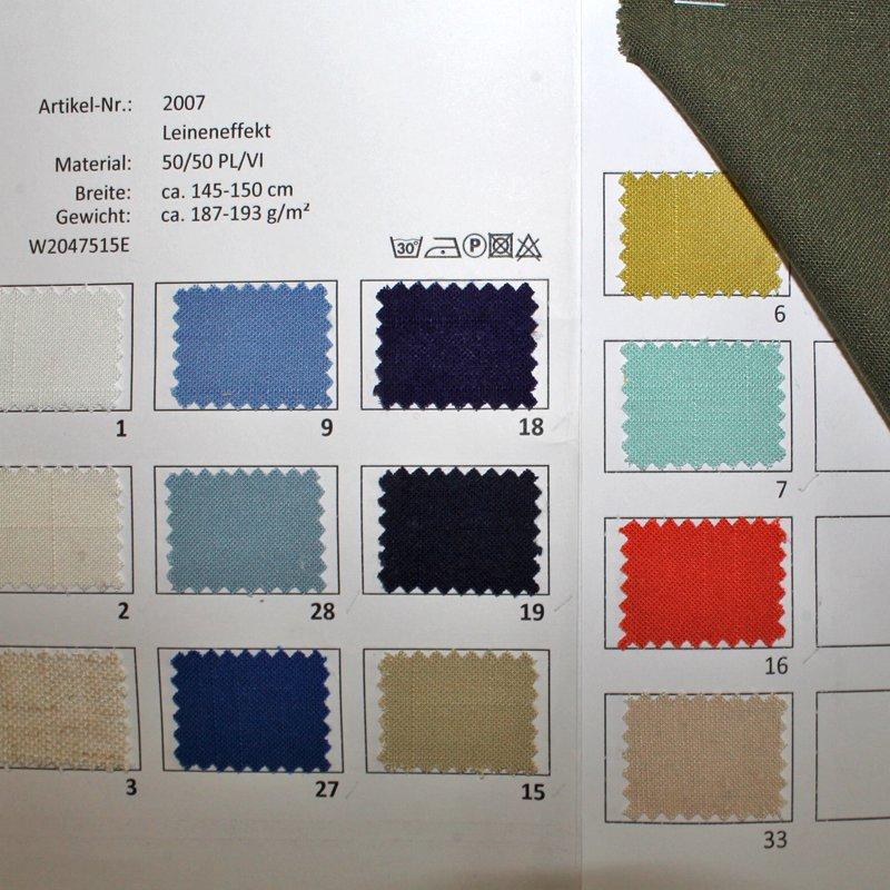 Farbkarte Leineneffekt in 25 Farben