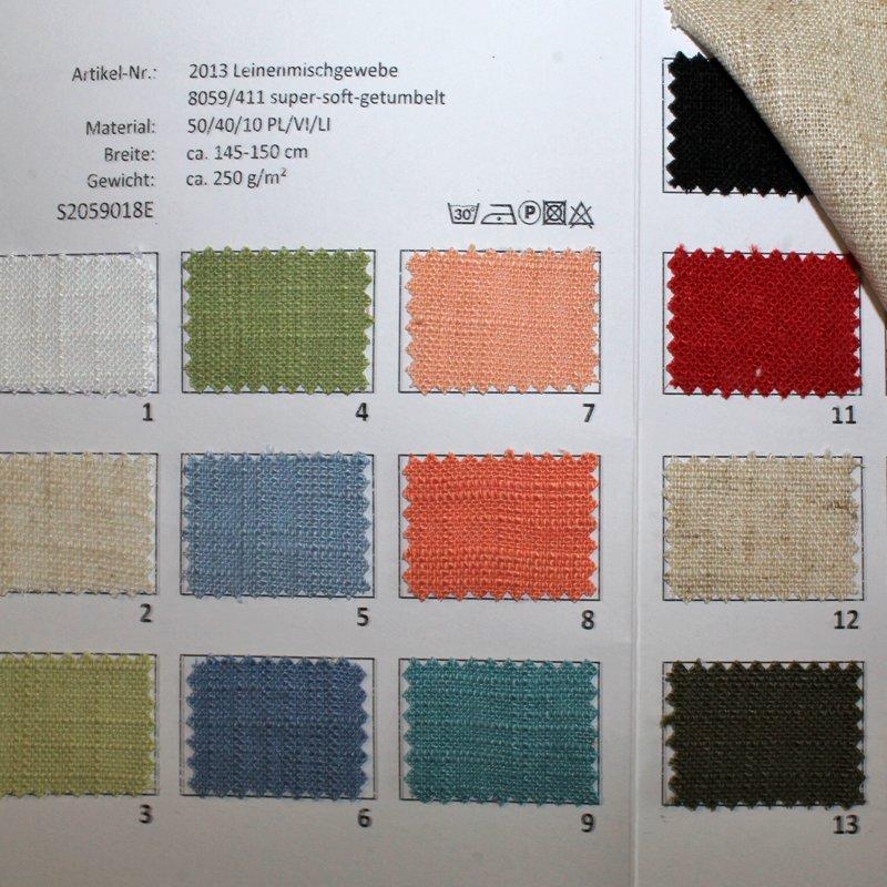 Farbkarte Leinenmischgewebe super soft getumbelt in 17 Farben