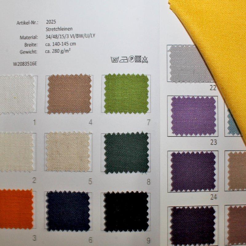 Farbkarte Stretchleinen in 31 Farben