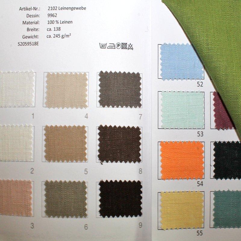 Farbkarte Leinengewebe in 61 Farben