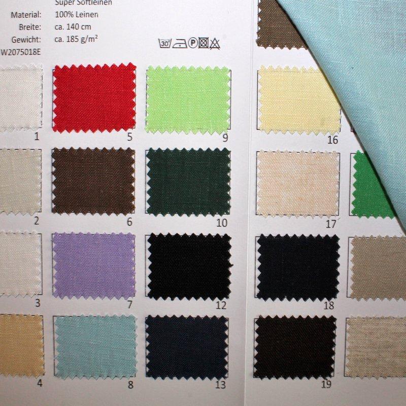 Farbkarte Super Softleinen in 19 Farben