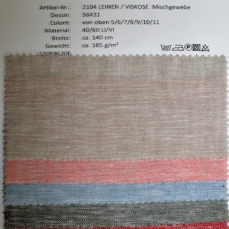 Farbkarte Leinenmischgewebe in 7 Farben