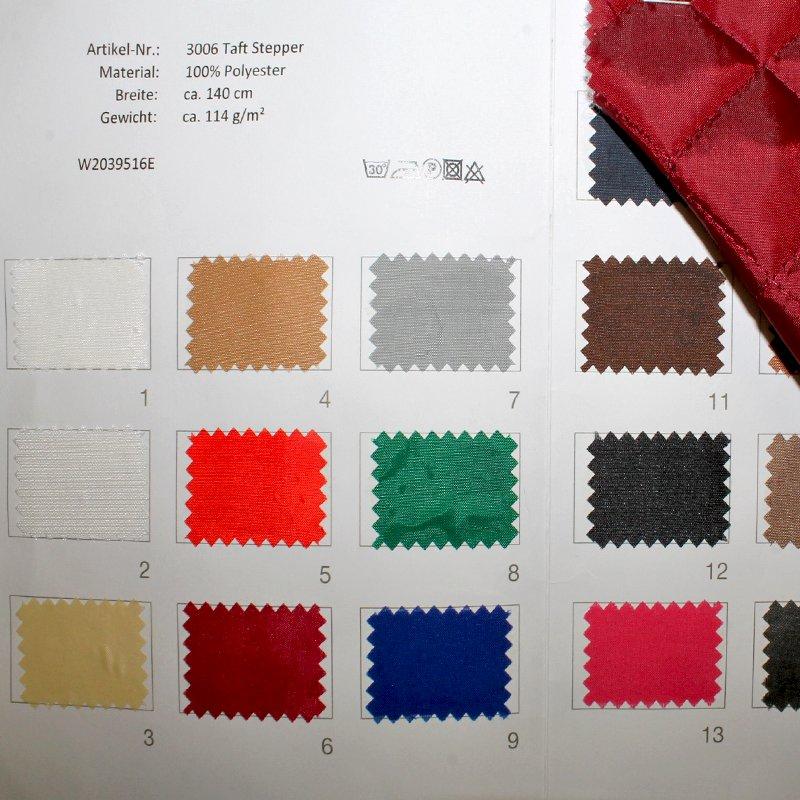 Farbkarte Taft Stepper in 19 Farben