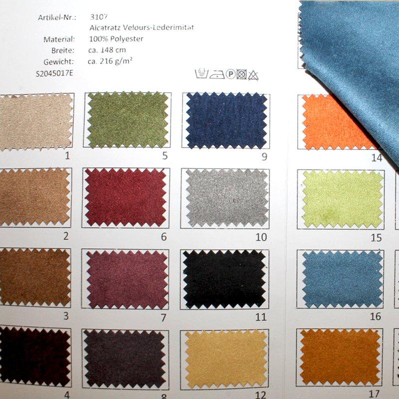 Farbkarte Alcatratz Velours-Lederimitat Wasser- und Fleckabweisend in 23 Farben