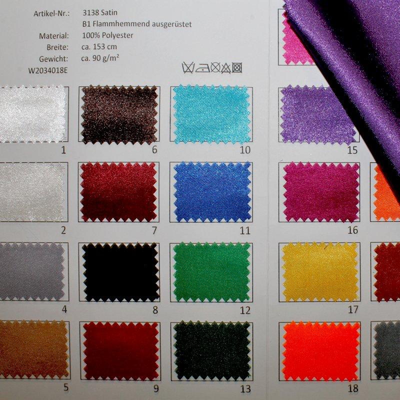 Farbkarte Satin B1 Flammhemmend ausgerüstet in 24 Farben