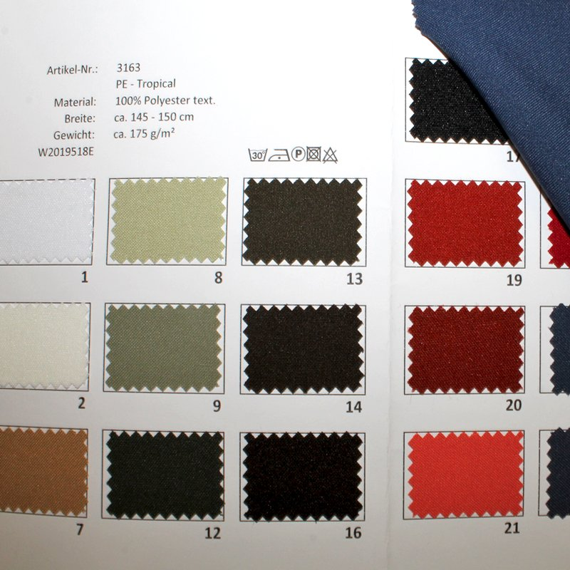 Farbkarte PE-Tropical in 40 Farben