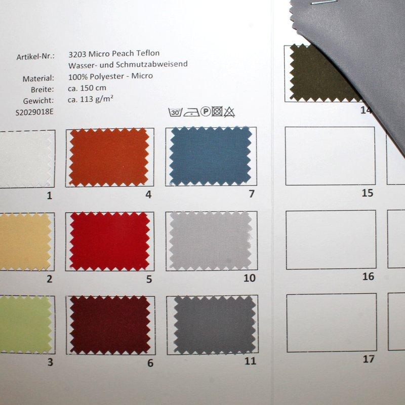 Farbkarte Micro Peach Teflon Wasser- und Fleckabweisend in 10 Farben