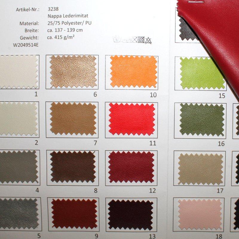 Farbkarte Nappa Lederimitat in 27 Farben