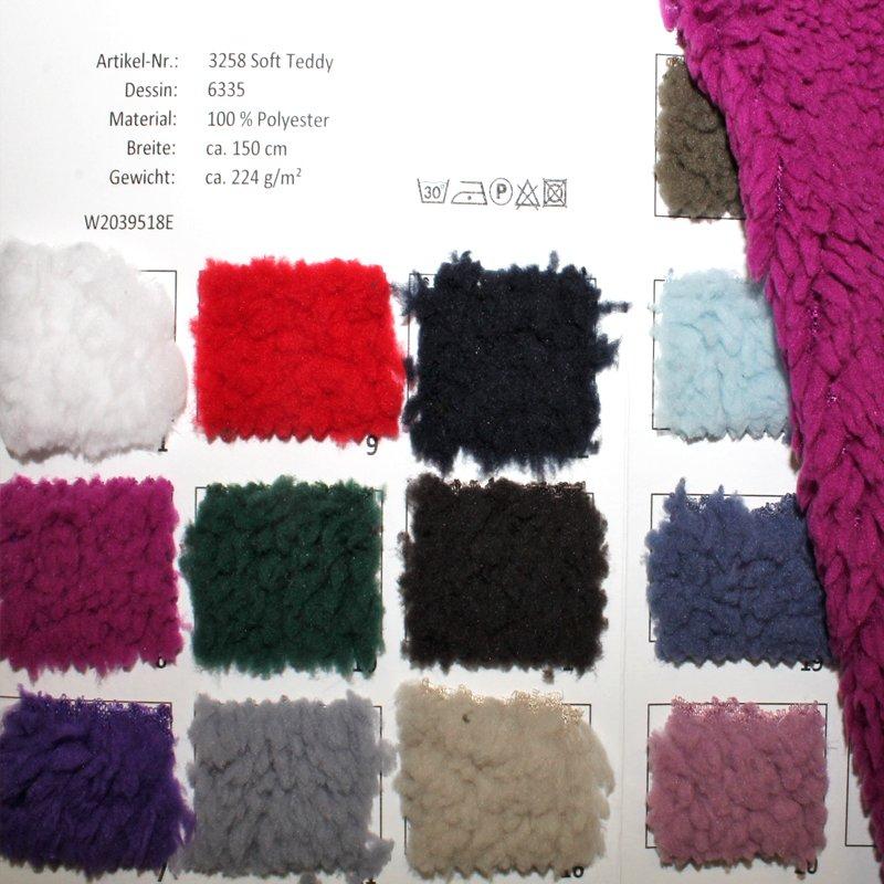 Farbkarte Soft Teddy in 23 Farben