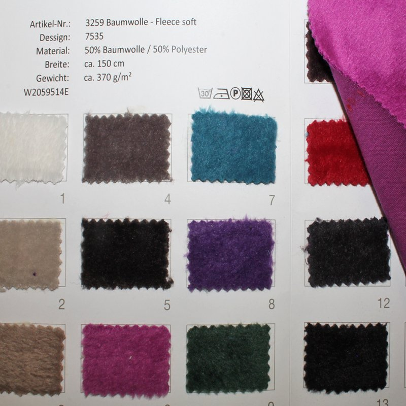 Farbkarte BW Fleece soft  in 9 Farben