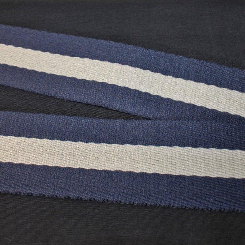 Gurtband 37 mm  blau-beige