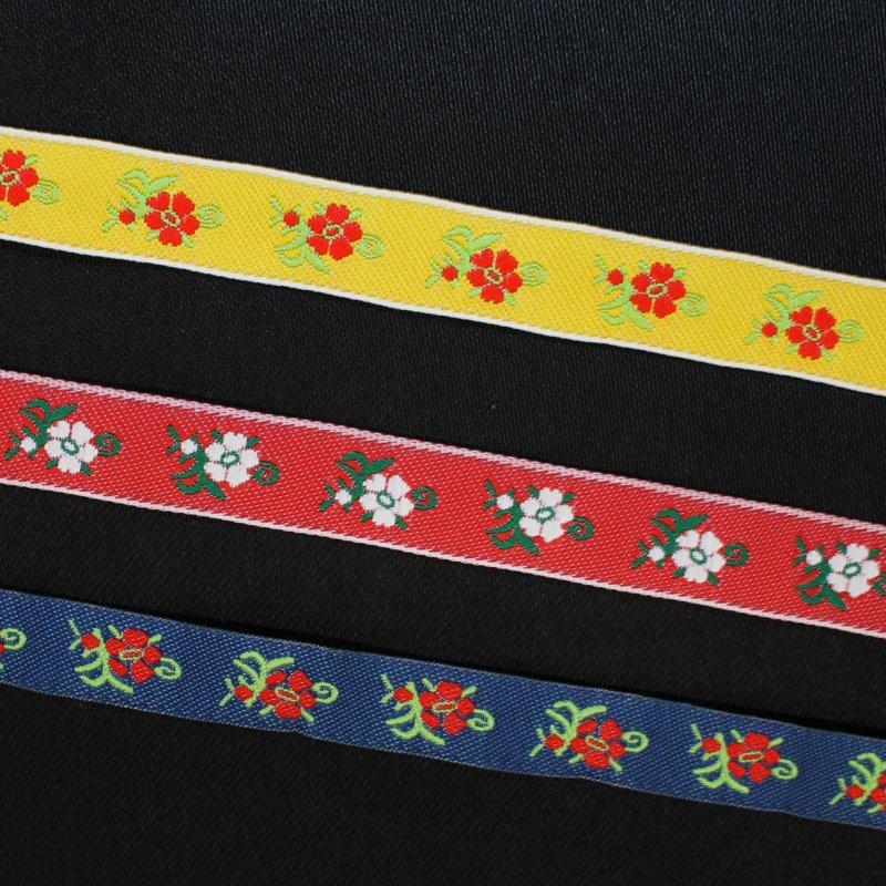 Jacquardband 12 mm Blumen
