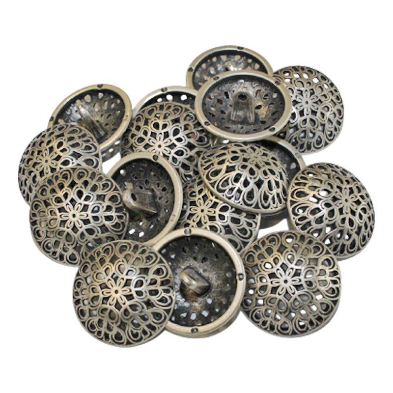 Metallknopf gewölbt altsilber 25 mm
