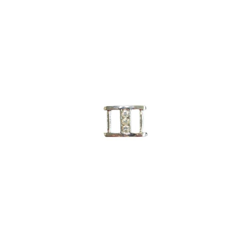 Dekoschnalle für Bänder mit Steinchen 10 mm silber