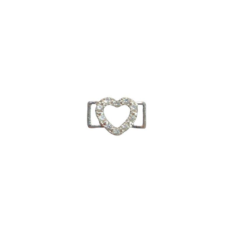 Dekoschnalle für Bänder Herz mit Steinchen 10 mm silber